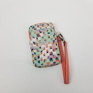 Fossil wristlet wallet phone case pink orange blue